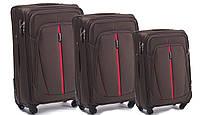 Набор чемоданов 3 штуки в 1 Wings 1706 на 4 колесах Кофе