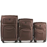 Набор чемоданов 3 штуки в 1 Wings 6802 на 4 колесах Кофе