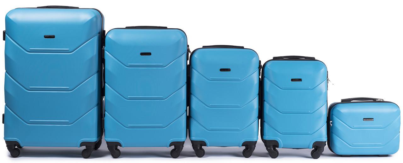 Набор чемоданов 5 штук в 1 Wings 147 на 4 колесах Голубой
