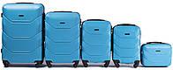 Набор чемоданов 5 штук в 1 Wings 147 на 4 колесах Голубой, фото 1