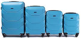 Набор чемоданов 4 штуки в 1 Wings 147 на 4 колесах Голубой
