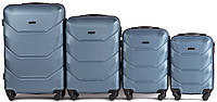 Набор чемоданов 4 штуки в 1 Wings 147 на 4 колесах Голубое серебро, фото 1