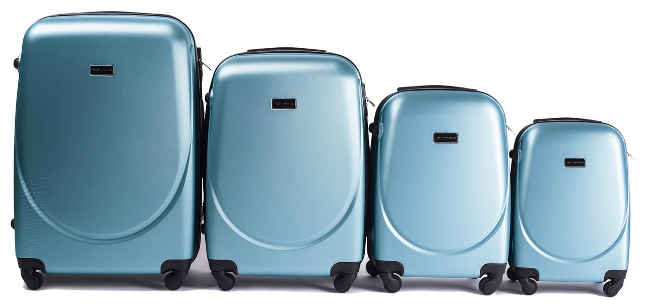 Набор чемоданов 4 штуки в 1 Wings 310 Голубое серебро
