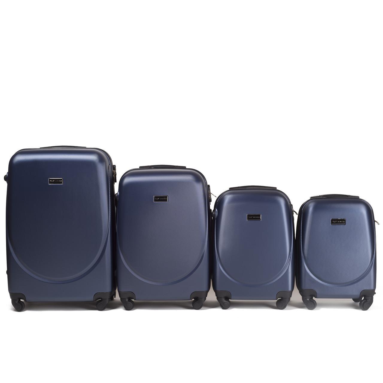 Набор чемоданов 4 штуки в 1 Wings 310 на 4 колесах Темно-синий