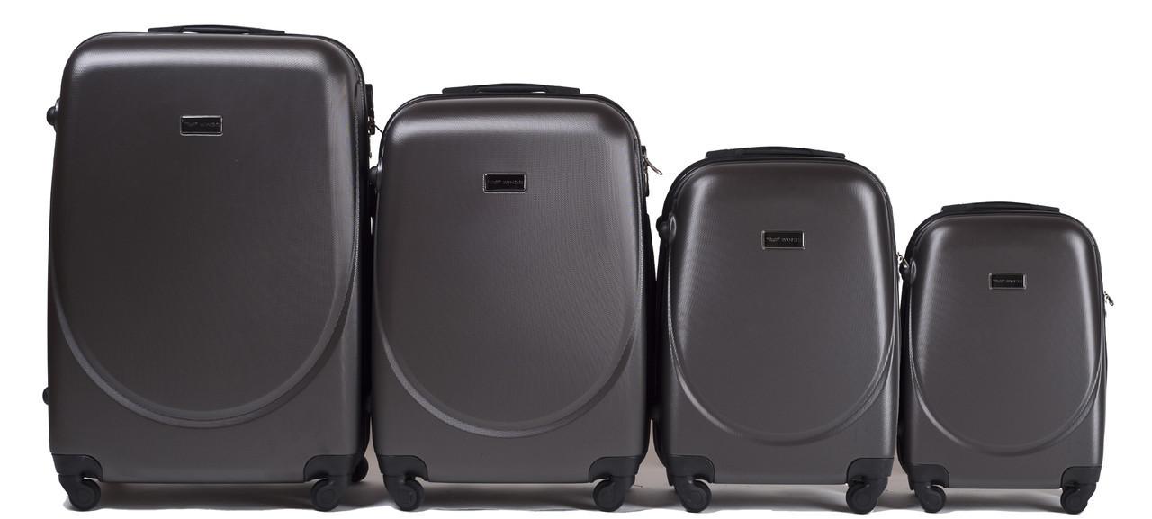 Набор чемоданов 4 штуки в 1 Wings 310 на 4 колесах Темно-серый