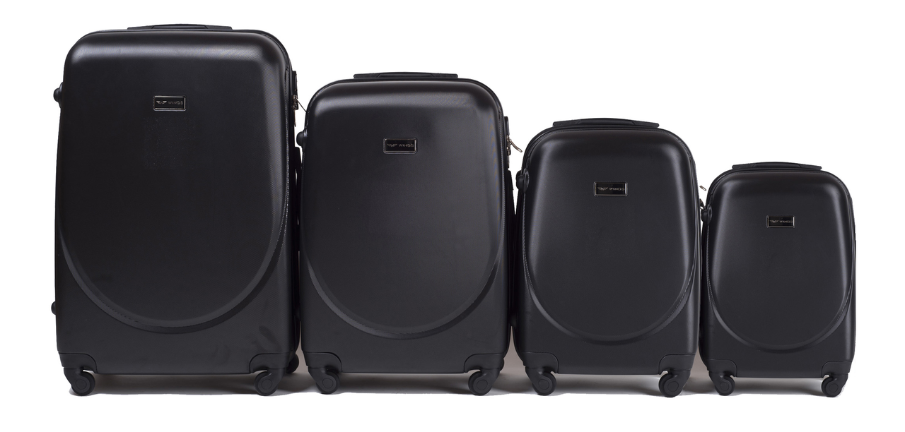 Набор чемоданов 4 штуки в 1 Wings 310 на 4 колесах Черный