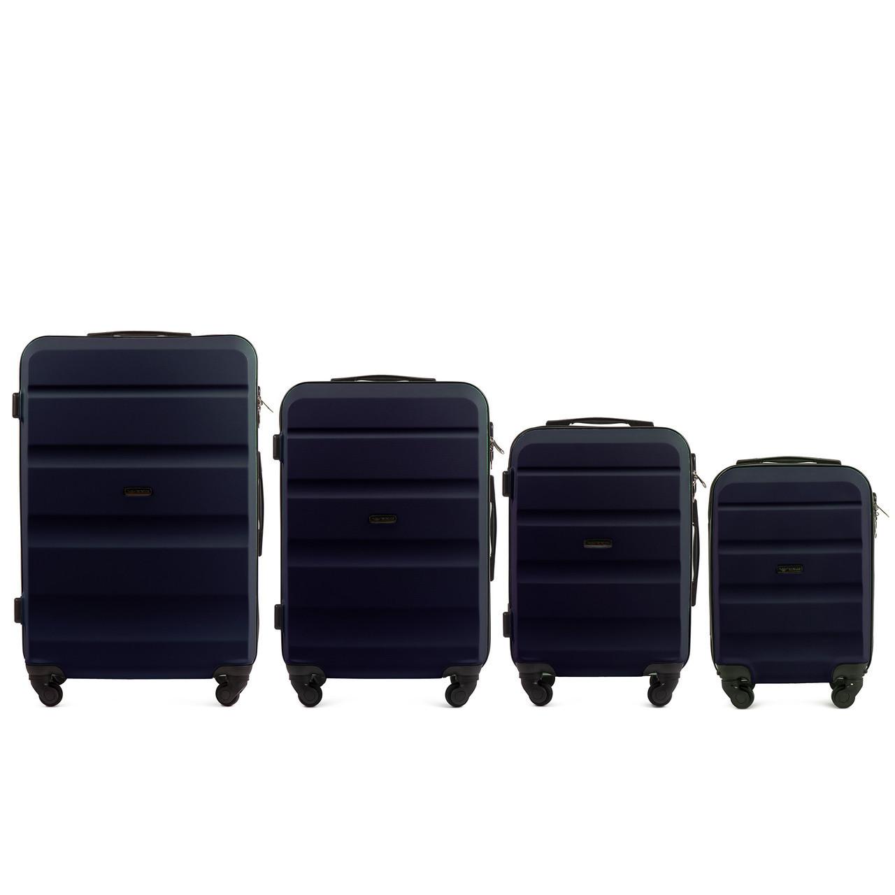Набор чемоданов 4 штуки в 1 Wings AT01 на 4 колесах Темно-синий