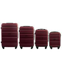 Набор чемоданов 4 штуки в 1 Wings AT01 на 4 колесах Бордовый