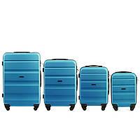 Набор чемоданов 4 штуки в 1 Wings AT01 на 4 колесах Голубой
