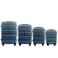 Набор чемоданов 4 штуки в 1 Wings AT01 на 4 колесах Голубое серебро