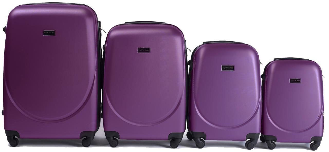 Набор чемоданов 4 штуки в 1 Wings 310 на 4 колесах Сливовый