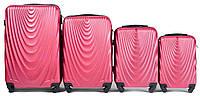 Набор чемоданов 4 штуки в 1 Wings 304 на 4 колесах Коралловый, фото 1