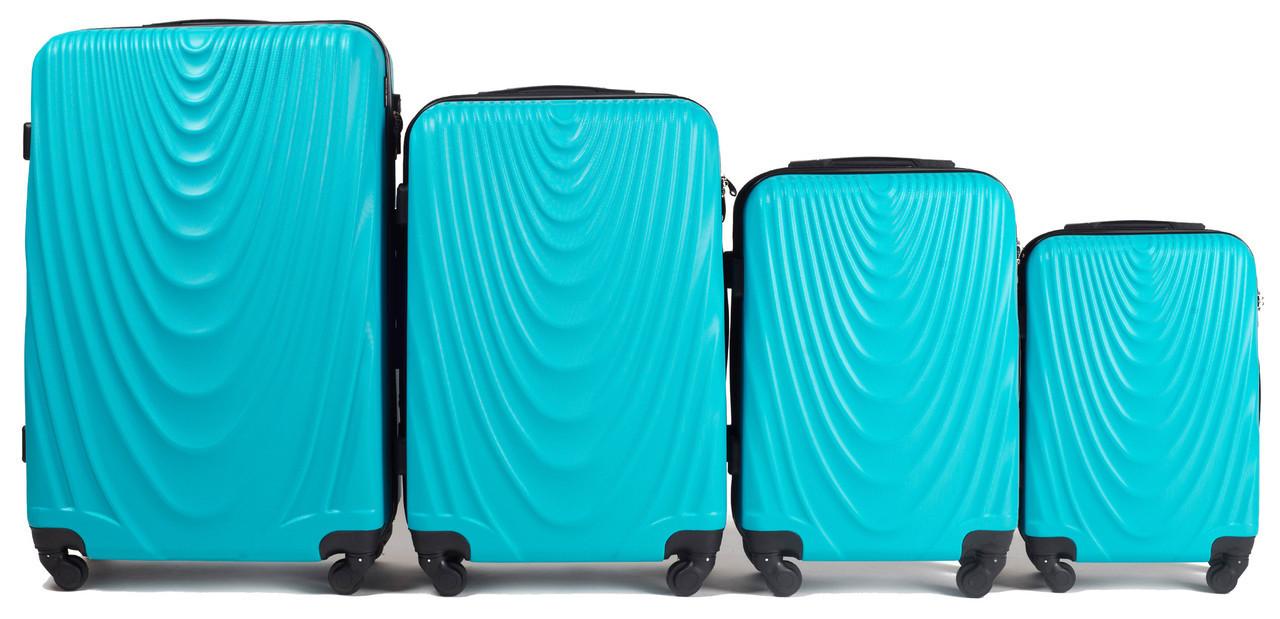 Набор чемоданов 4 штуки в 1 Wings 304 на 4 колесах Голубой
