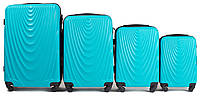 Набор чемоданов 4 штуки в 1 Wings 304 на 4 колесах Голубой, фото 1