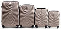 Набор чемоданов 4 штуки в 1 Wings 304 на 4 колесах Шампань, фото 1