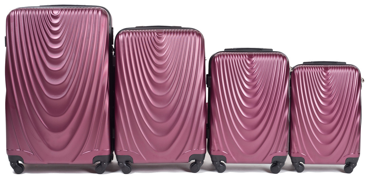 Набор чемоданов 4 штуки в 1 Wings 304 на 4 колесах Бордовый