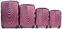 Набор чемоданов 4 штуки в 1 Wings 304 на 4 колесах Бордовый, фото 1