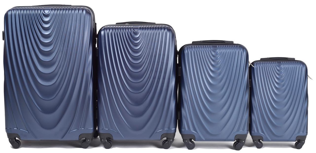 Набор чемоданов 4 штуки в 1 Wings 304 на 4 колесах Темно-синий