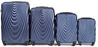 Набор чемоданов 4 штуки в 1 Wings 304 на 4 колесах Темно-синий, фото 1
