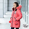 """Зимняя куртка для девочки """"Брида"""" коралл, фото 3"""