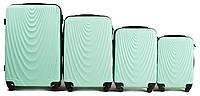 Набор чемоданов 4 штуки в 1 Wings 304 на 4 колесах Мятный, фото 1
