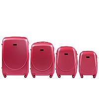 Набор чемоданов 4 штуки в 1 Wings K310 на 4 колесах Розовый, фото 1
