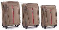 Набор чемоданов 3 штуки в 1 Wings 1706 на 4 колесах Песочный