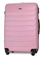 Чемодан Fly 1107 большой 74х50х29 см 90л пластиковый на 4 колесах Розовый, фото 1