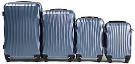 Набор чемоданов 4 штуки в 1 Wings 159 на 4 колесах Голубое серебро