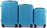 Набор чемоданов 3 штуки в 1 Wings 2011 на 4 колесах Голубой, фото 1