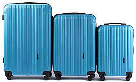 Набор чемоданов 3 штуки в 1 Wings 2011 на 4 колесах Голубой