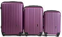 Набор чемоданов 3 штуки в 1 Wings 2011 на 4 колесах Сливовый, фото 1