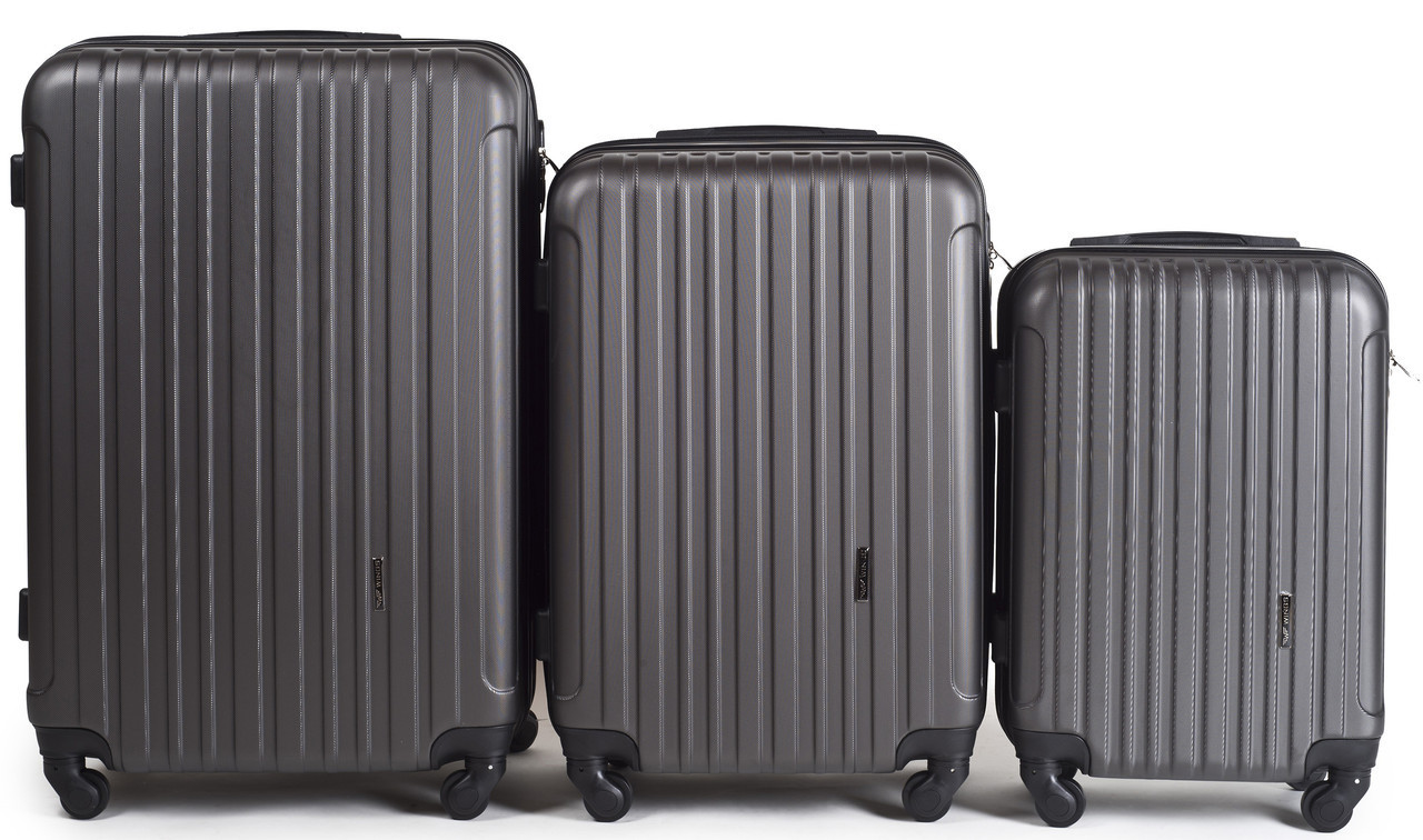 Набор чемоданов 3 штуки в 1 Wings 2011 на 4 колесах Темно-серый