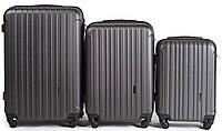 Набор чемоданов 3 штуки в 1 Wings 2011 на 4 колесах Темно-серый, фото 1