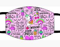 Защитная маска многоразовая с рисунком лицо Единорог с принтом ORIGINAL хлопок (Двухслойная)