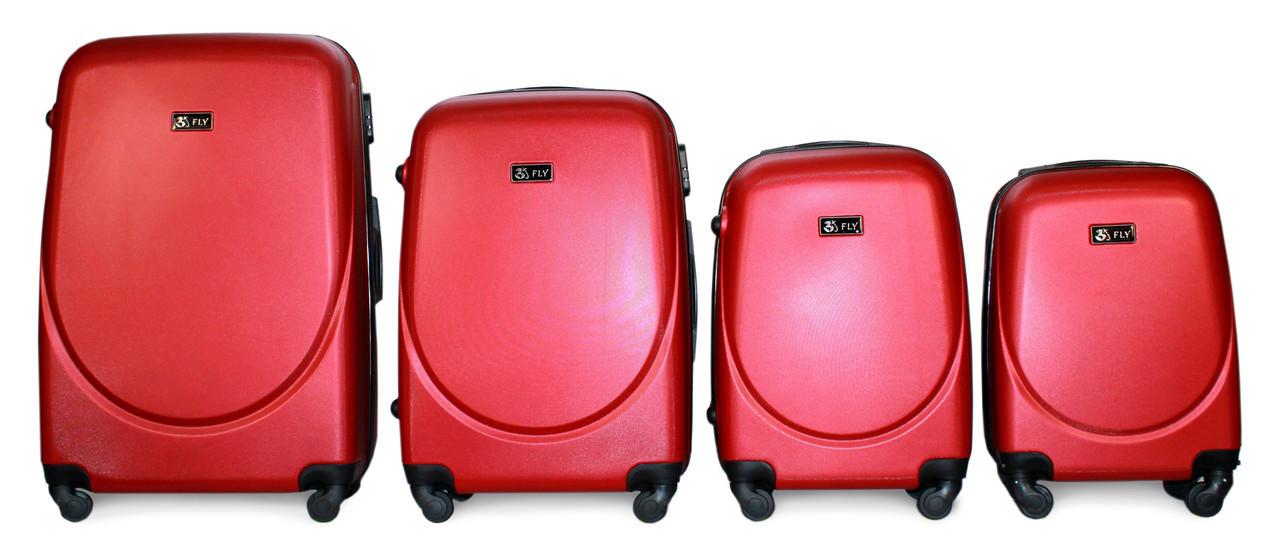 Набор чемоданов 4 штуки в 1 Fly 310 на 4 колесах Красный