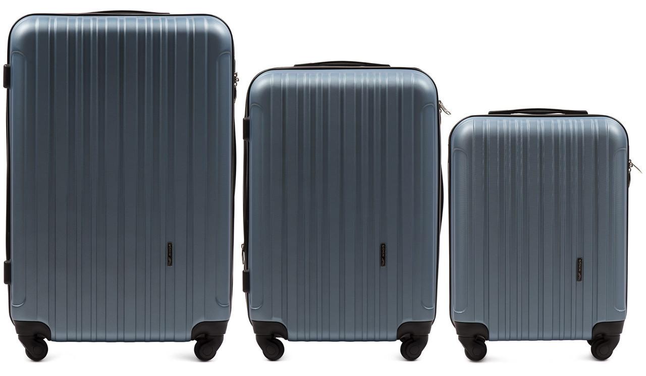 Набор чемоданов 3 штуки в 1 Wings 2011 на 4 колесах Голубое серебро