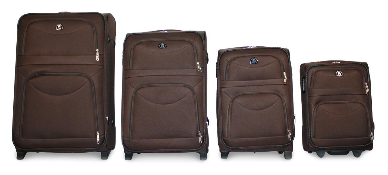 Набор чемоданов 4 штуки в 1 Fly 6802 на 2 колесах  Кофе