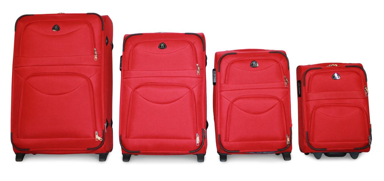 Набор чемоданов 4 штуки в 1 Fly 6802 на 2 колесах  Красный
