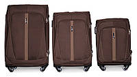 Набор чемоданов 3 штуки в 1 Fly 1706 на 4 колесах Кофе, фото 1