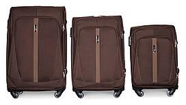 Набор чемоданов 3 штуки в 1 Fly 1706 на 4 колесах Кофе
