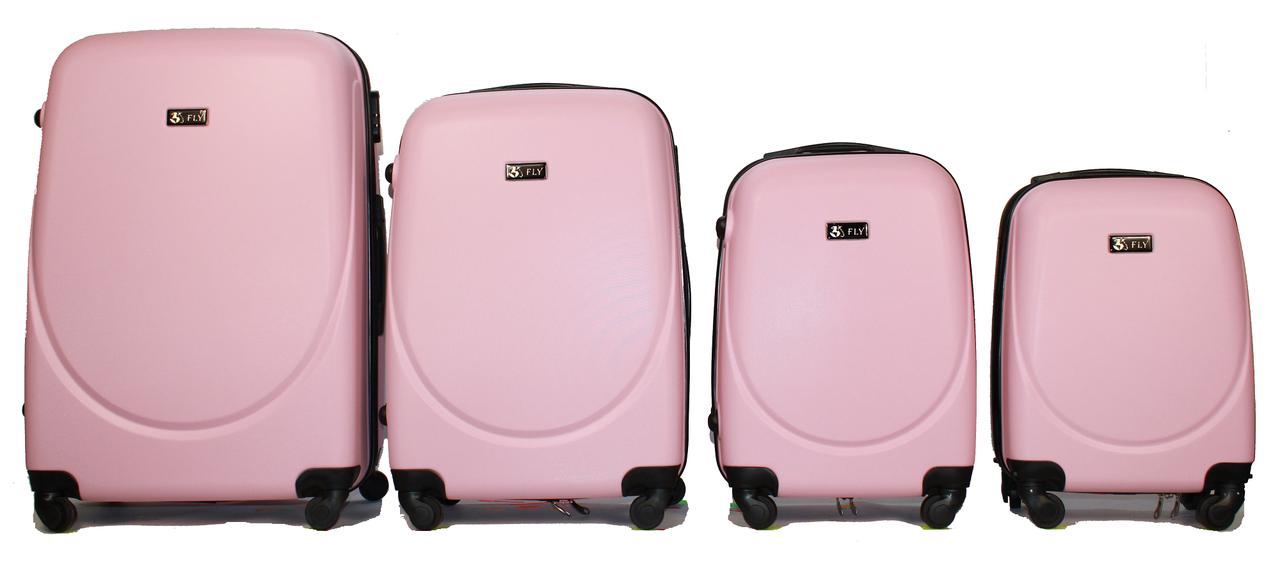 Набор чемоданов 4 штуки в 1 Fly 310 на 4 колесах Розовый