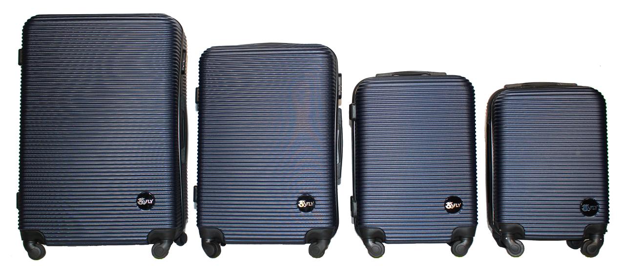 Набор чемоданов 4 штуки в 1 Fly 91240 на 4 колесах Темно-синий