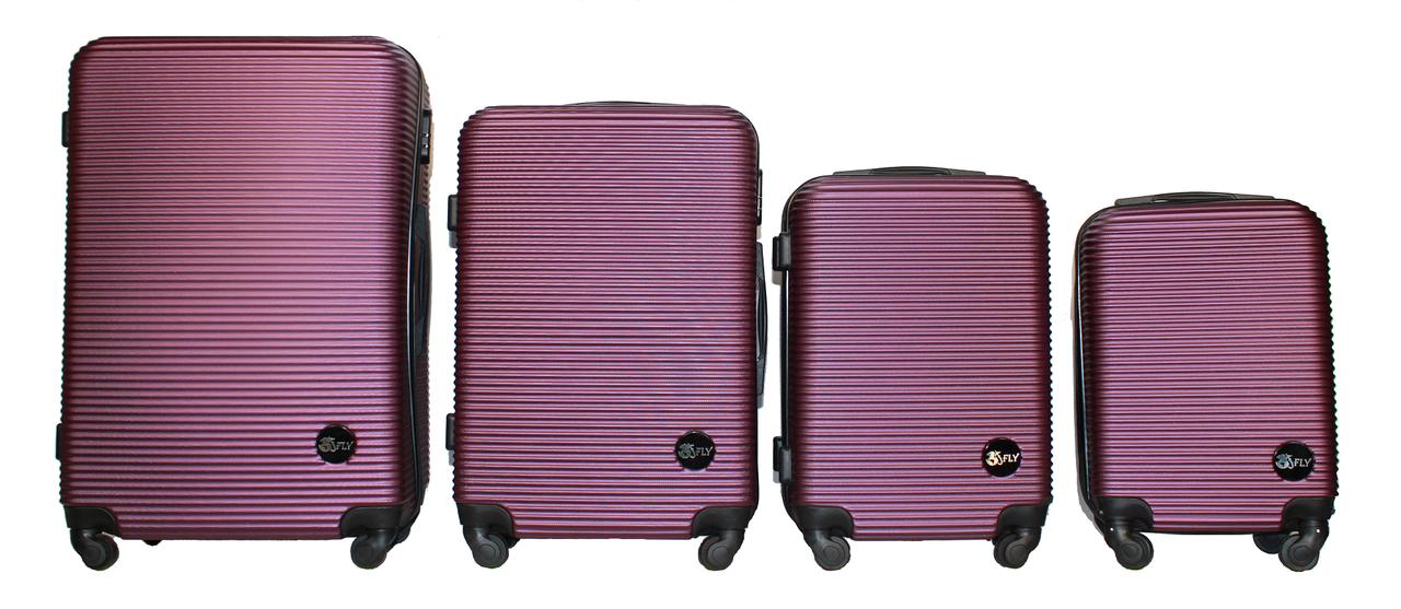 Набор чемоданов 4 штуки в 1 Fly 91240 на 4 колесах Темно-фиолетовый