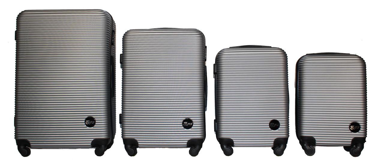 Набор чемоданов 4 штуки в 1 Fly 91240 на 4 колесах Серебро