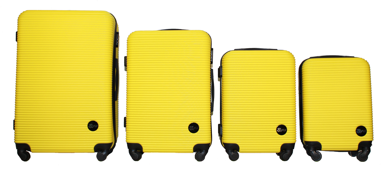 Набор чемоданов 4 штуки в 1 Fly 91240 на 4 колесах Желтый