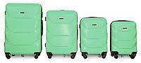 Набор чемоданов 4 штуки в 1 Fly 147 на 4 колесах Мятный, фото 1