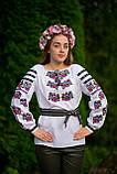 Жіноча вишиванка у білому кольорі із домотканого полотна з оригінальною вишивкою «Фієста», фото 8