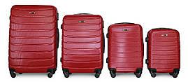 Набор чемоданов 4 штуки в 1 Fly 1107 на 4 колесах Бордовый