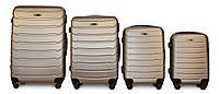 Набор чемоданов 4 штуки в 1 Fly 1107 на 4 колесах Золотистый, фото 1